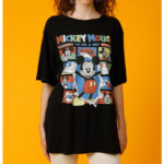 DSJ MOUSSY Mickey & Minnie Short Sleeve T-Shirt Black