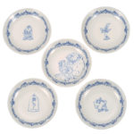 DSJ Beauty and the Beast Small Plate 5P Set Blue & White